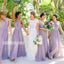 Elegant Purple Halter A-line Long Bridesmaid Dresses  BMD027