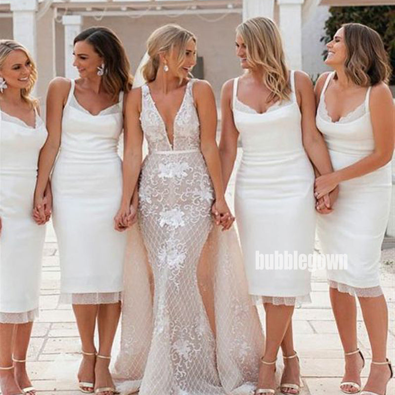 Elegant White Spaghetti Strap Mermaid Short Bridesmaid Dresses  BMD028