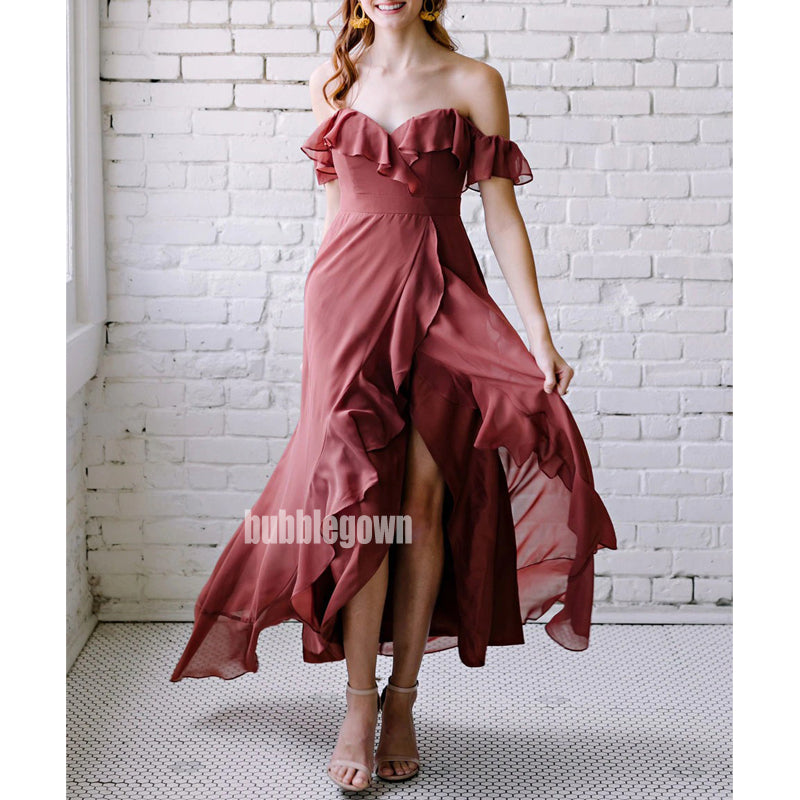 Elegant Rosewood Sweetheart Chiffon Long Bridesmaid Dresses  BMD029