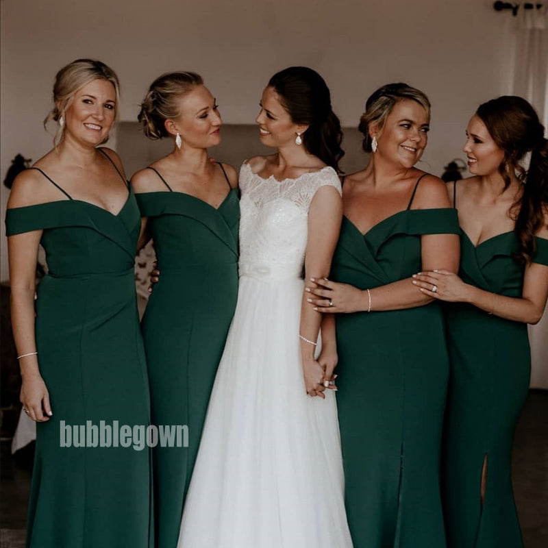 Popular Dark Green Split Side Long Bridesmaid Dresses  BMD030