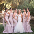 Elegant Pink Sweetheart Mermaid Long Bridesmaid Dresses  BMD033