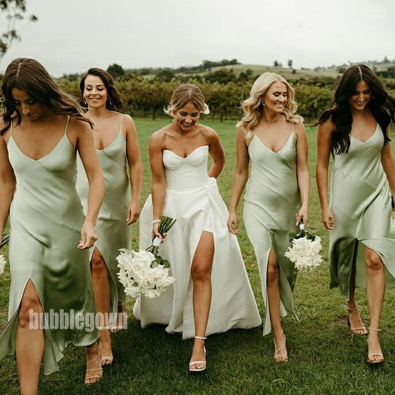 Simple Green Spaghetti Strap Split Side Long Bridesmaid Dresses  BMD036