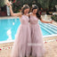 Pretty Light Purple One-shoulder Tulle Long Bridesmaid Dresses  BMD039