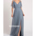 Elegant Blue Spaghetti Strap Tulle Long Bridesmaid Dresses  BMD040