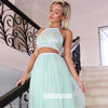 Two Pieces Halter Green A-line Tulle Long Bridesmaid Dresses  BMD041