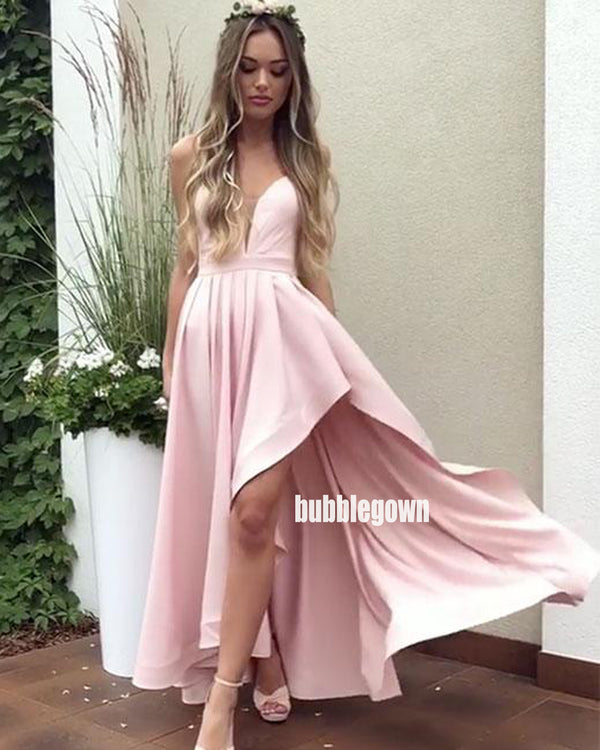 Sexy Pink V-neck Side Split Long Bridesmaid Dresses  BMD042