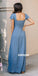 Elegant Blue Short Sleeves Chiffon Long Bridesmaid Dresses  BMD046