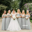 Elegant Off shoulder Tulle Long Bridesmaid Dresses  BMD047