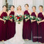 Elegant Halter Burgundy Chiffon Long Bridesmaid Dresses, BMD048