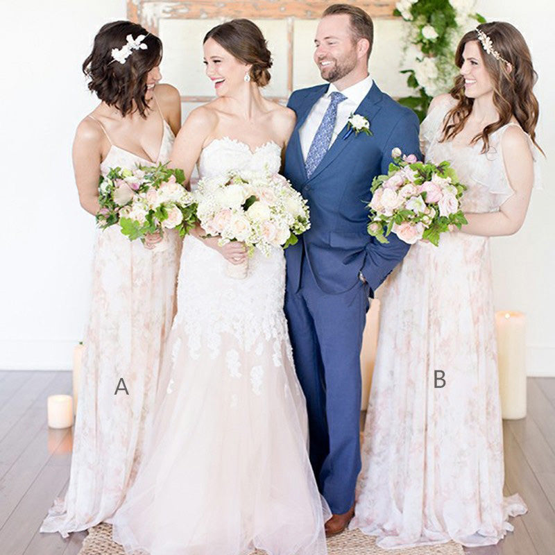 Charming Unique Romantic A Line Long Wedding Bridesmaid Dresses, BGP284 - Bubble Gown