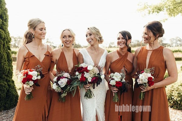 Mismatched Styles Wedding Party Long Bridesmaid Prom Dresses GDW102