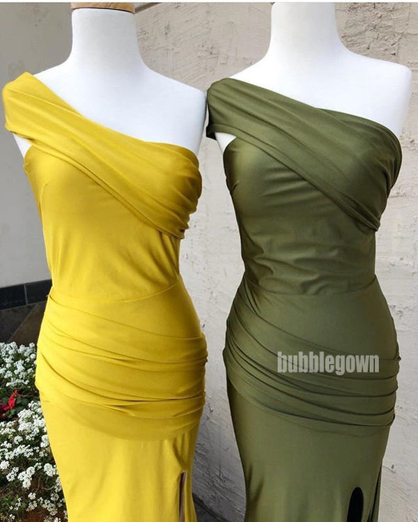 One Shoulder Mermaid Side Slit Long Bridesmaid Dresses GDW109