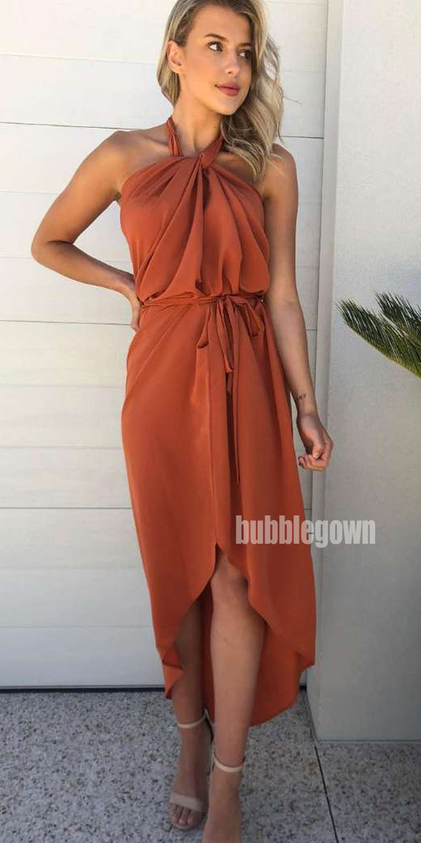 Halter High Low Long Bridesmaid Dresses GDW113