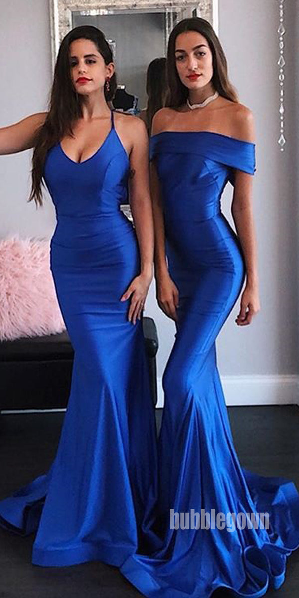 Royal Blue Mermaid Sexy Long Bridesmaid Dresses GDW103