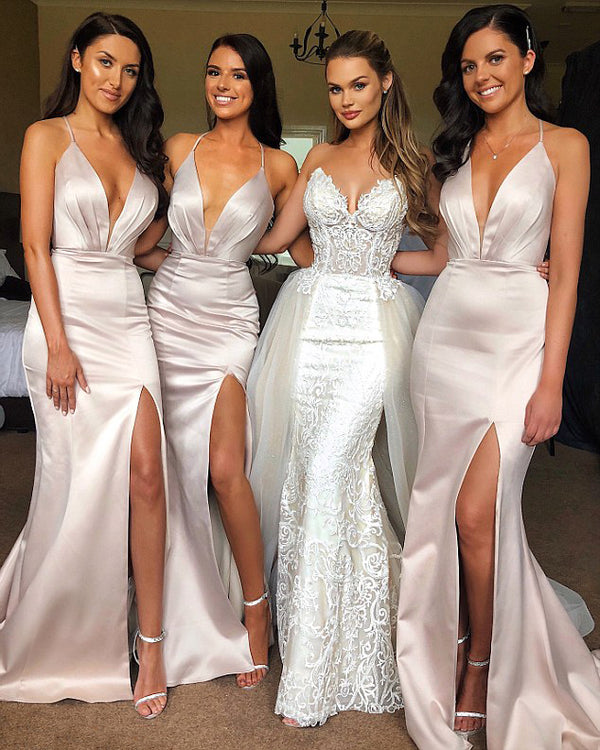 Sexy Mermaid Side Slit Wedding Party Long Bridesmaid Dresses, BGP300
