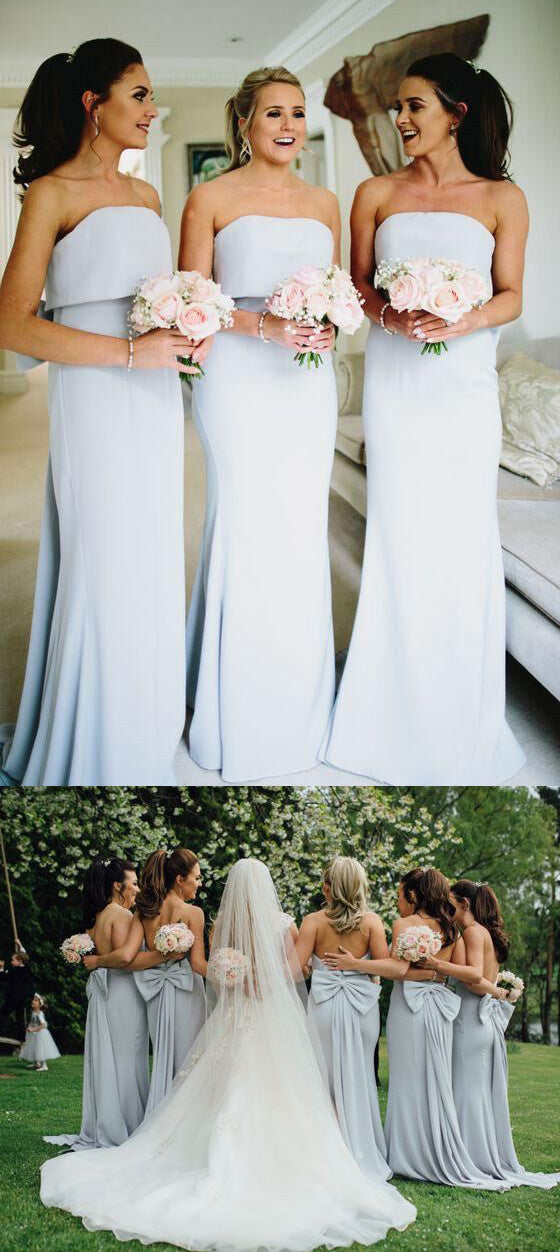 Poular Straight Neckline Mermaid Long Wedding Bridesmaid Dresses with Bow, BGP280