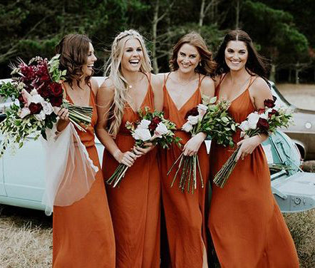 Cheap Simple Sexy Side Split Long Bridesmaid Dresses, BG51244 - Bubble Gown