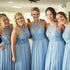 Charming Halter A Line Blue Cheap Long Wedding Bridesmaid Dresses, BGP292 - Bubble Gown