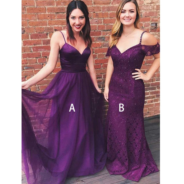 Cheap Elegant Formal Purple Weddomg Party Long Bridesmaid Dresses, BG51256 - Bubble Gown
