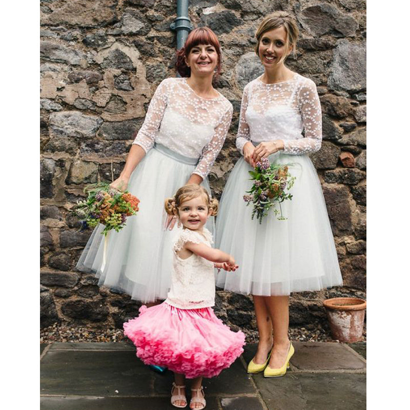 Lovely Long Sleeves Cheap Tulle Short Bridesmaid Dresses, BG51295