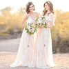 Charming Unique Romantic A Line Long Wedding Bridesmaid Dresses, BGP284