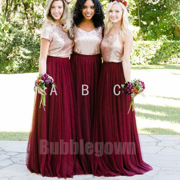 871ffbc45c8 Popular Mismatched Sequin Top Tulle Long Bridesmaid Dresses