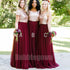 Popular Mismatched Sequin Top Tulle Long Bridesmaid Dresses, BD008