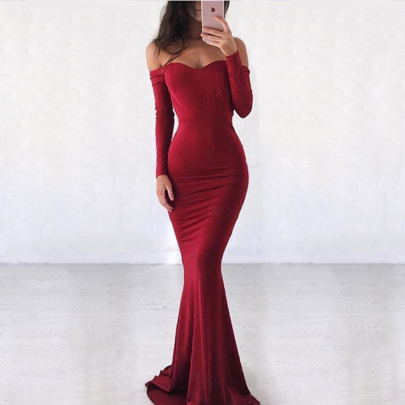Off the Shoulder Long Sleeves Mermaid Burgundy Long Bridesmaid Dresses, BGP299