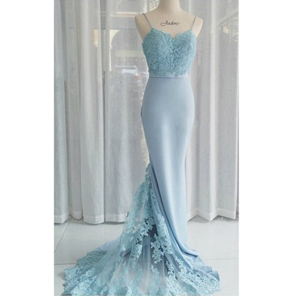 Charming Blue Lace Mermaid Elegant Cheap Long Bridesmaid Dresses, BG51476