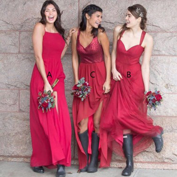 Mismatched Red A Line Cheap Long Wedding Bridesmaid Dresses, BGP294