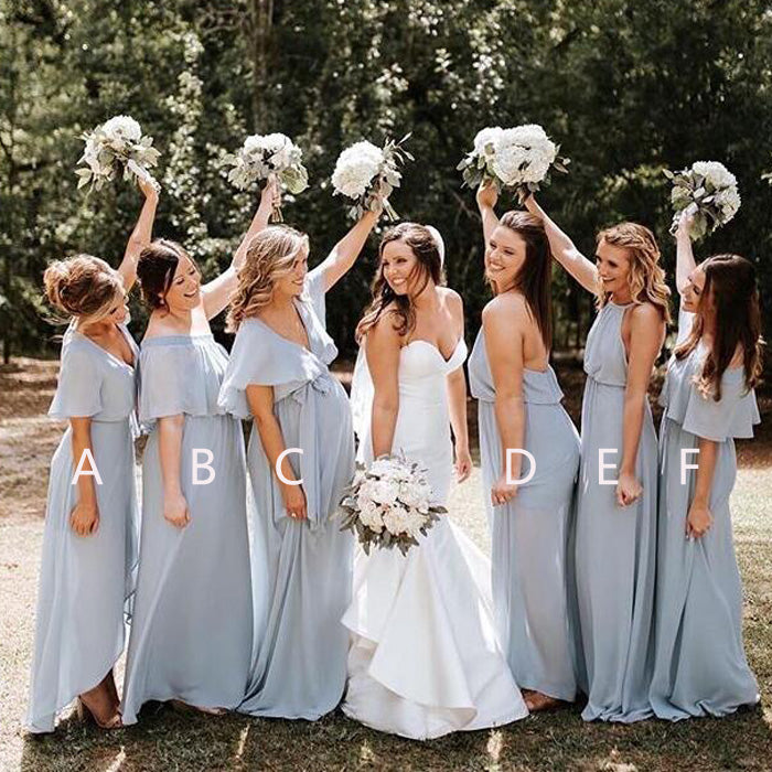 Mismatched Charming Chiffon Cheap Long Wedding Bridesmaid Dresses, BGP286