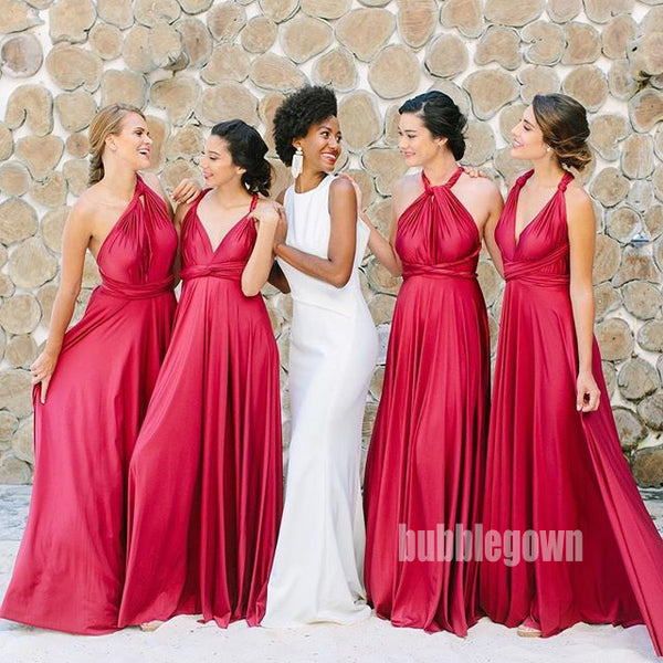 A-line Convertible Wedding Party Long Bridesmaid Dresses GDW105