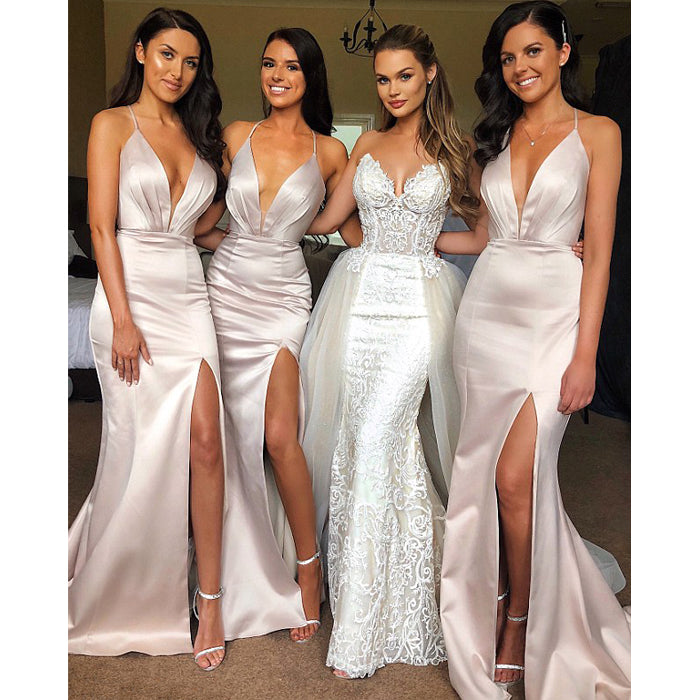 Sexy Mermaid Side Slit Wedding Party Long Bridesmaid Dresses 6834aba108c6