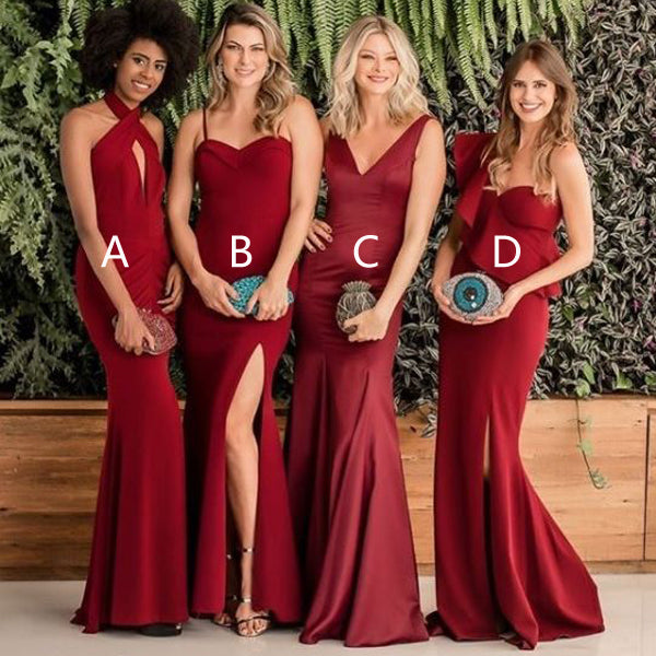 Mismatched Mermaid Elegant Side Slit Cheap Long Wedding Bridesmaid Dresses, BGP295