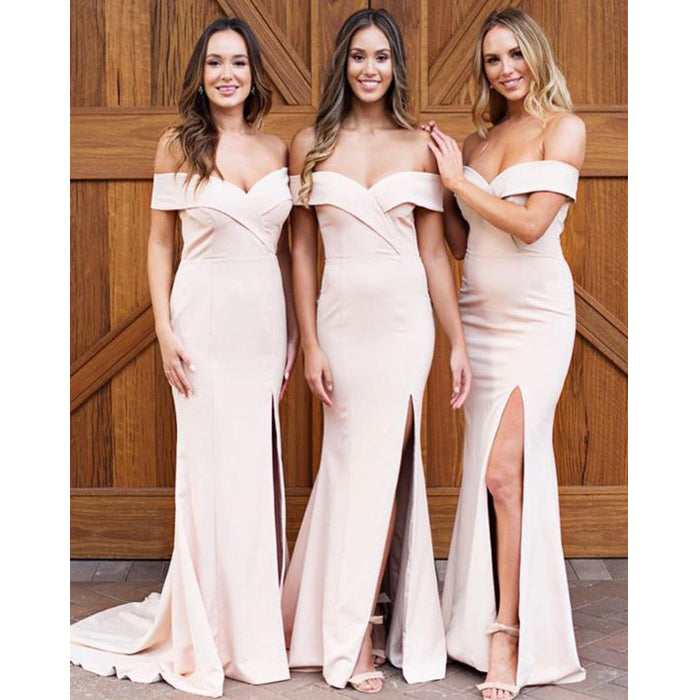 Off the Shoulder Mermaid Sexy Side Slit Long Wedding Bridesmaid Dresses, BGP225