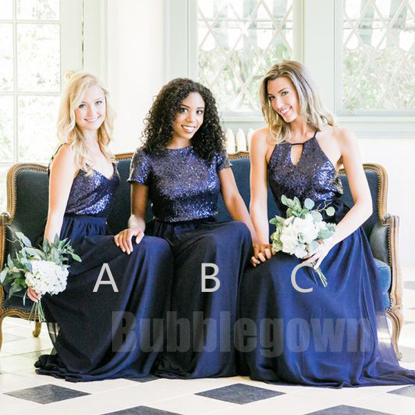Cheap Mismatched Sequin Top Chiffon Long Bridesmaid Dresses, BD007