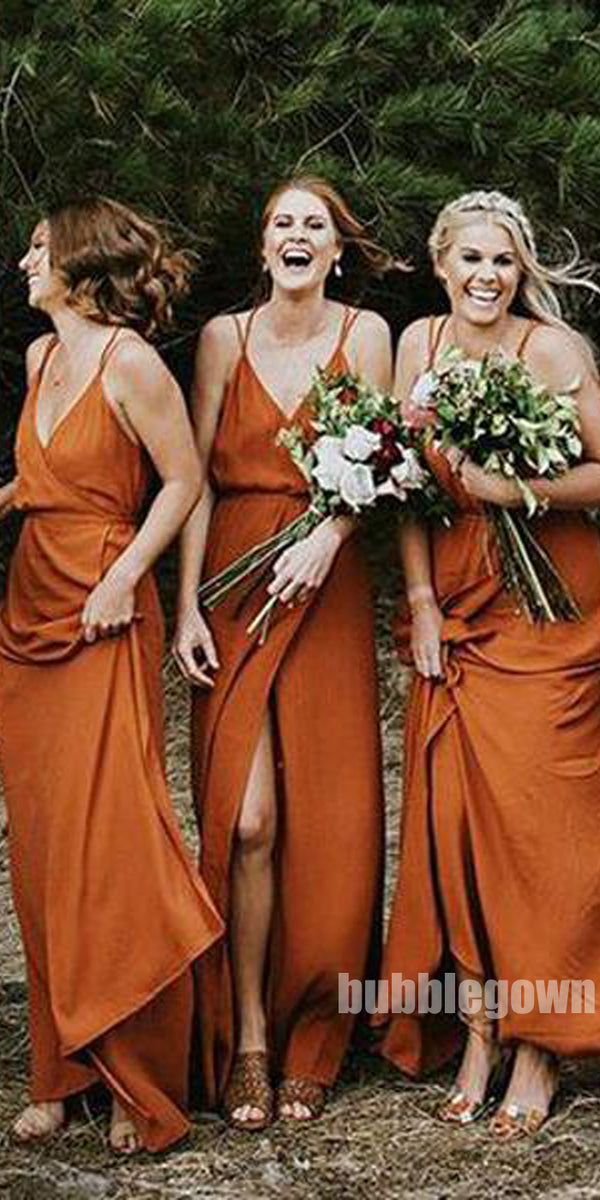 Cheap Simple Sexy Side Split Long Bridesmaid Dresses, BG51244
