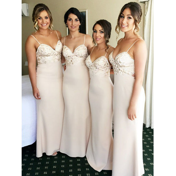 Spaghetti Strap Mermaid Sexy Cheap Long Wedding Bridesmaid Dresses, BG51055