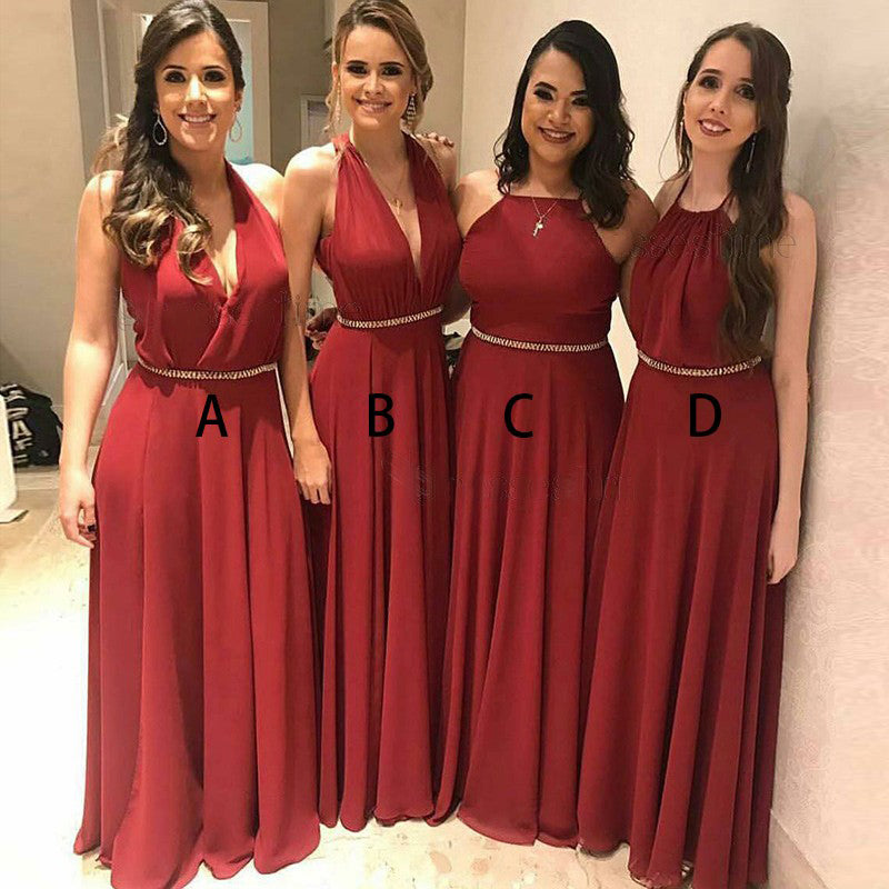 Mismatched A Line Elegant Cheap Long Wedding Bridesmaid Dresses, BGP296