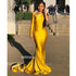 One Shoulder Long Sleeve Mermaid Long Bridesmaid Prom Dresses GDW101