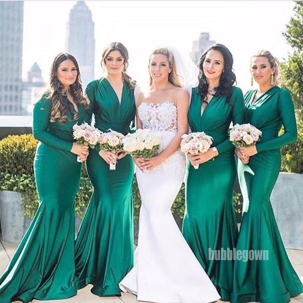 Long Sleeves Mermaid V Neck Long Bridesmaid Dresses GDW110