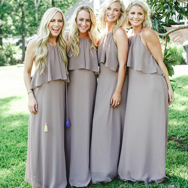 Open Back Halter Chiffon A Line Cheap Long Wedding Bridesmaid Dresses, BGP297