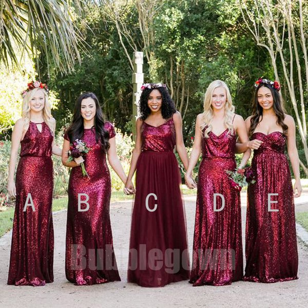 f426e367e40 Popular Elegant Mismatched Sequin Tulle Long Wedding Party Bridesmaid