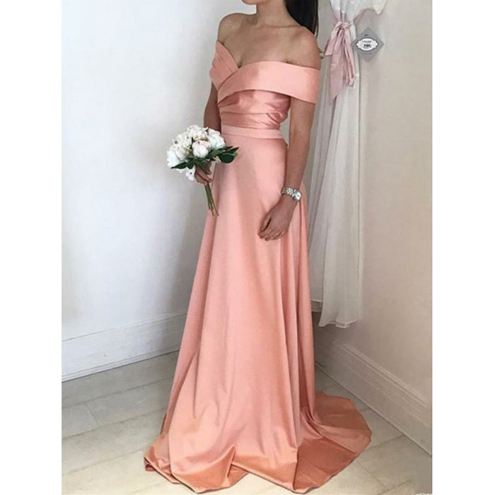 Charming Off the Shoulder Simple Cheap Long Wedding Bridesmaid Dresses, BG51069 - Bubble Gown