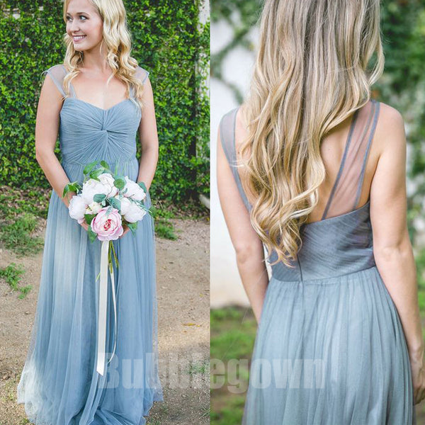 Popuarl Cheap Sweetheart Tulle Long Wedding Party Bridesmaid Dresses, BD011