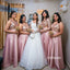 A-line Sequin Top Mismatched Long Bridesmaid Dresses GDW107