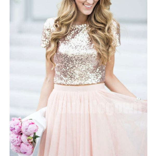 b77b2b406851 Affordable Short Sleeves Two Pieces Sequin Top Pink Tulle Long Bridesmaid  Dresses, BD003 - Bubble