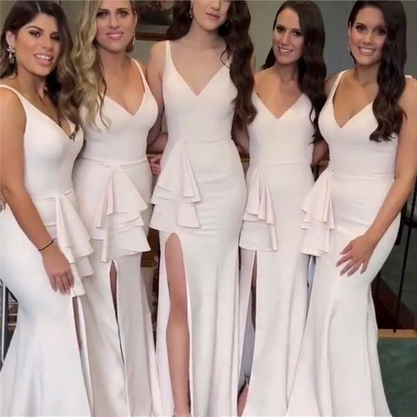 Side Split Mermaid V Neck Cheap Long Wedding Bridesmaid Dresses, BGP281