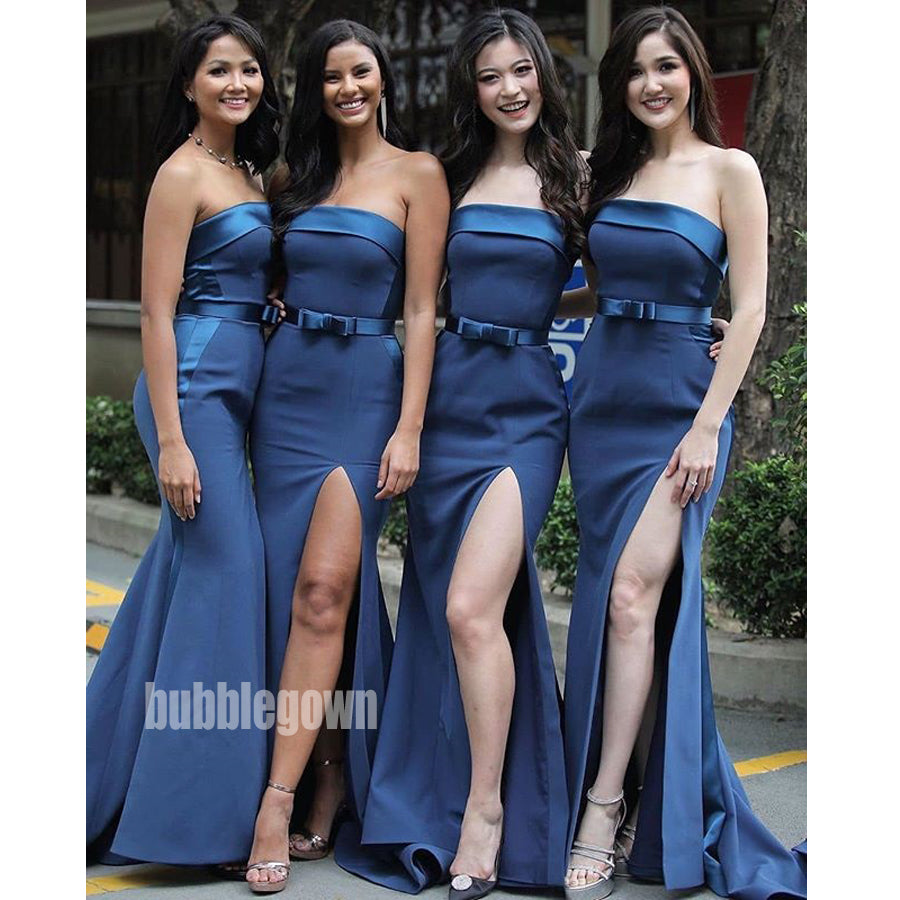 Royal Blue Straight Neck Split Long Bridesmaid Dresses GDW115