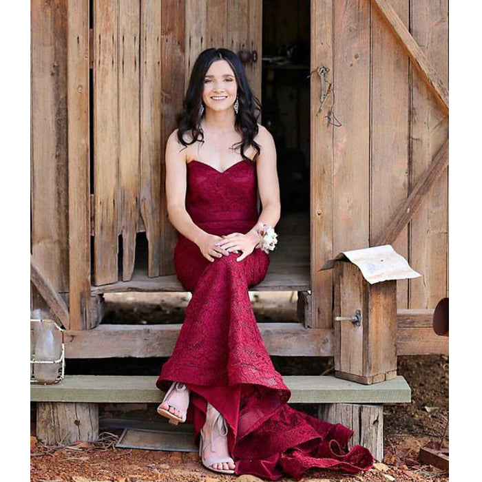 Sweetheart Mermaid Burgundy Cheap Long Lace Bridesmaid Dresses, BG51268